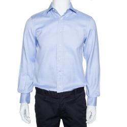 Ermenegildo Zegna Light Blue Chambray Cotton Long Sleeve Shirt S
