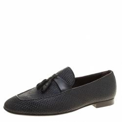 Ermenegildo Zegna Black Woven Leather Lido Tassel Loafers Size 42