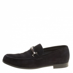 Ermenegildo Zegna Navy Blue Suede Loafers Size 42