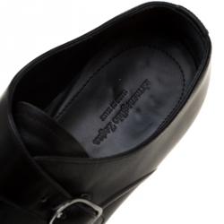 Ermenegildo Zegna Black Leather Monk Strap Oxfords Size 41.5