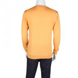 Etro Orange Paisley Printed Button Front Cardigan L