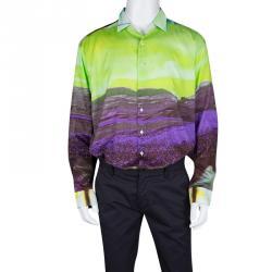 Etro Multicolor Printed Cotton Long Sleeve Button Front Shirt 2XL