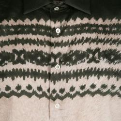 Etro Bottle Green and Beige Tie Dye Print Long Sleeve Button Front Cotton Shirt L