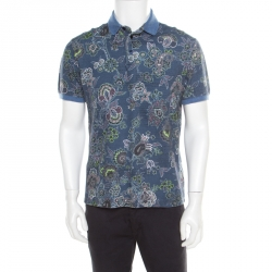 d67543da Etro Blue Floral Printed Honeycomb Knit Polo T-Shirt M