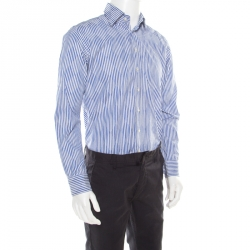 07c2009c Etro Blue and White Striped Argyle Pattern Cotton Jacquard Long Sleeve Shirt  M