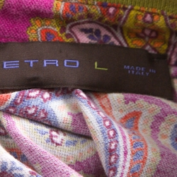Etro Pink Paisley Print Cotton Contrast Collar Polo Shirt L
