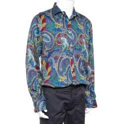 Etro Blue Paisley Printed Cotton Button Front Shirt XXL