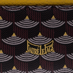 Fauré Le page Burgundy/Mustard Printed Coated Canvas and Leather Card holder
