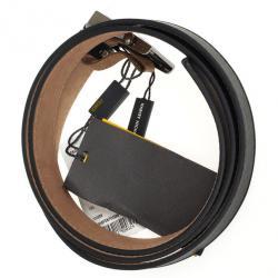 Fendi Black Leather Striped Enamel Sliding Buckle Belt Size 36