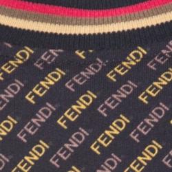 Fendi Black and Yellow Knit Diagonal Logo Printed Jumper L