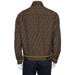 Fendi Brown Zucca Monogram Jacquard Button Front Jacket M
