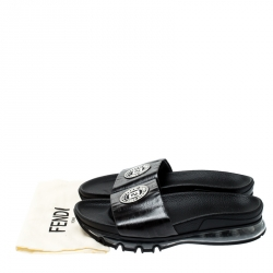 Fendi Black Zucca Coated Canvas Logo Appliquèd Sliders Size 42