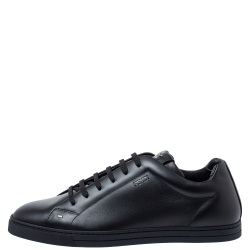 Fendi Black Leather Low Top Sneakers Size 43