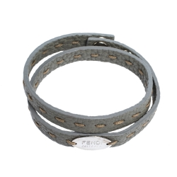 Fendi Selleria Grey Leather Silver Tone Double Wrap Bracelet