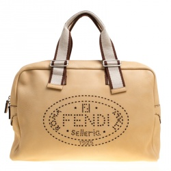 651fb05787 Fendi Yellow Selleria Leather Weekender Bag