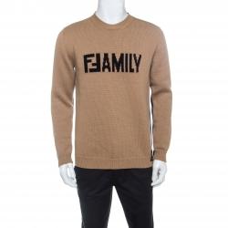 Fendi Tricolor Logo-Intarsia Virgin Wool Sweater L