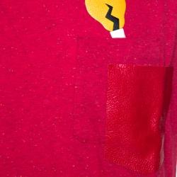 Fendi Red Cotton Patch Pocket Detail T-Shirt XXL