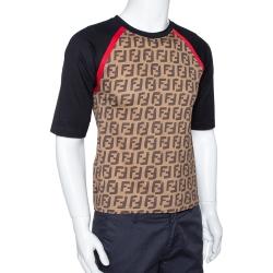 Fendi Brown FF Logo Print Cotton Raglan Sleeve T-Shirt XS