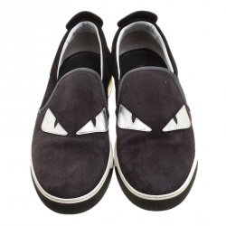 Fendi Two Tone Suede Monster Slip On Sneakers Size 44