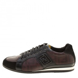Fendi Two Tone Zucca Canvas and Leather Low Top Sneakers Size 41.5