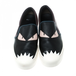 Fendi Tricolor Leather Monster Slip On Sneakers Size 41