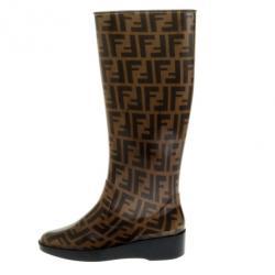 Fendi Tobacco Zucca Rubber Wedge Rain Boots Size 36
