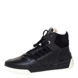 Fendi Black Leather And Suede Tank High Top Sneakers Size 42