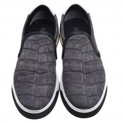 Fendi Grey Printed Fabric And Leather Slip On Sneakers Size 40