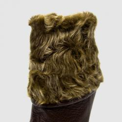Furla Brown Leather Mid Calf Boots With Fur Lining Size 39.5