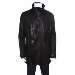 Giorgio Armani Black Lambskin Leather High Neck Jacket XL eecc5ac8b096d