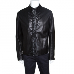 Giorgio Armani Black Lambskin Leather Concealed Zip Front Jacket XXL