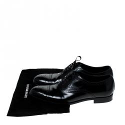 Emporio Armani Black Brogue Leather Oxfords Size 43.5