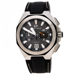 Girard Perregaux Grey Stainless Steel Chrono Hawk Ref.49970 Men's Wristwatch 44 mm