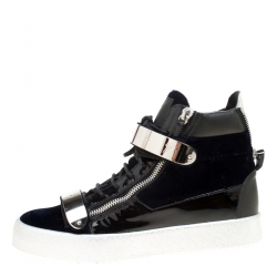 0e501d72d2479 Giuseppe Zanotti Navy Blue Velvet and Black Leather Coby High Top Sneakers  Size 43