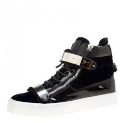 f682da822e7e Giuseppe Zanotti Navy Blue Velvet and Black Leather Coby High Top Sneakers  Size 43
