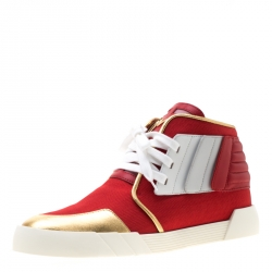 c2e62b0af5a05 Giuseppe Zanotti Red Canvas And Tricolor Leather Foxy London High Top  Sneakers Size 45