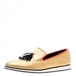 7a7aeb044 Giuseppe Zanotti Metallic Gold Leather Tassel Detail Smoking Slippers Size  44