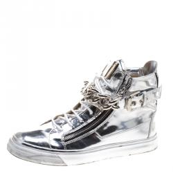 b38243922cc36 Giuseppe Zanotti Metallic Silver Mirrored Leather London High Top Sneakers  Size 43