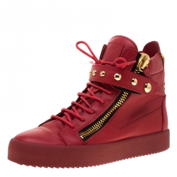 8df73b5a1d7 Giuseppe Zanotti Red Leather Studded High Top Sneakers Size 42