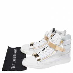 Giuseppe Zanotti White/Gold Leather Coby High Top Sneakers Size 44
