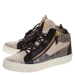 Giuseppe Zanotti Multicolor Python Embossed Leather May London High Top Sneakers Size 43