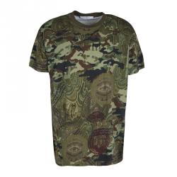 38a041ac79 Givenchy Green Camouflage Print Crew Neck Columbian Fit Cotton T-Shirt M