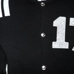 Givenchy Black Knit Wool Contrast Trim Baseball Jacket S