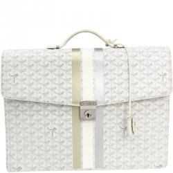 Goyard White Coated Canvas Chypre Briefcase