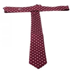 Gucci Burgundy Superbee Motif Silk Jacquard Tie