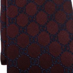 Gucci Burgundy Guccissima Silk Jacquard Tie