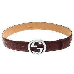 1a7f8b989 Gucci Red Guccissima Leather Interlocking GG Buckle Belt 90CM