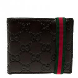 265562af59a Gucci Dark Brown Guccissima Leather Web Detail Bi Fold Wallet