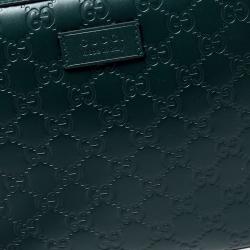 Gucci Dark Green Guccissima Leather Pouch