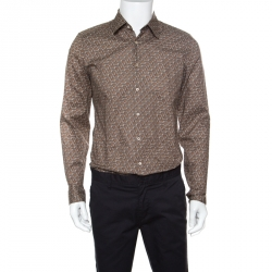 cffcd688d82 Gucci Brown Horsebit Printed Cotton Long Sleeve Slim Fit Shirt M